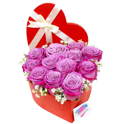 12 Purple Ecuadorian Roses Heart Box