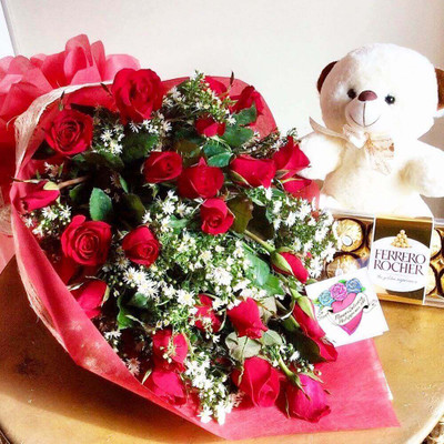 24 Roses, 8 Ferrero Box, Teddy Bear Package