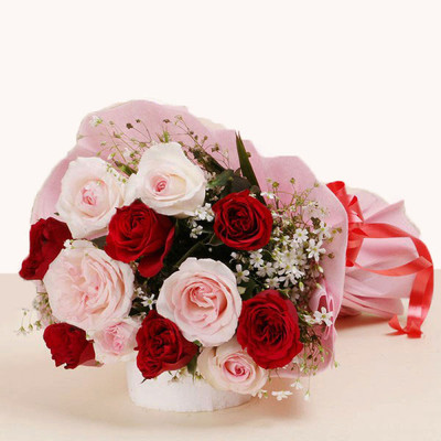 Pink & Red Sweetheart Roses Bouquet