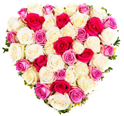 60 Imported Roses Heart Bouquet