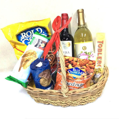 Cabernet & Chardonnay Treats Gift Basket