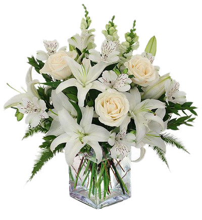 12 White Roses, Casablanca Lilies & Snapdragons