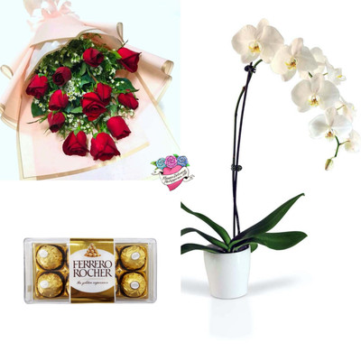 White Orchid & Red Roses Sweet Package