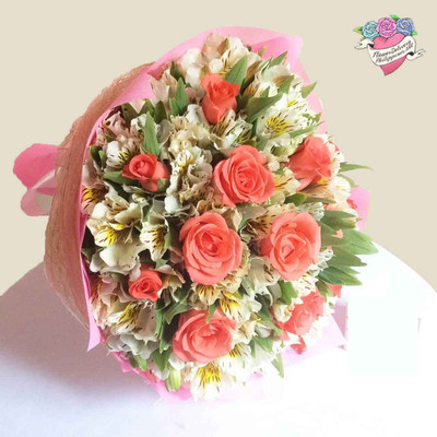 12 Pomelo Roses & Peruvian Lilies Bouquet - BEST SELLER!
