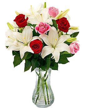 Casablanca lilies with red and pink roses - Best Seller!