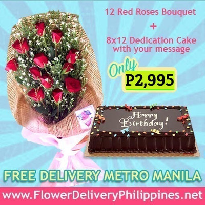 Dozen Roses & 8x12 Dedication Cake Package