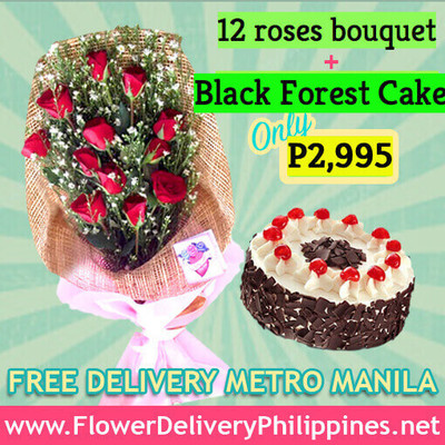 Dozen Roses & Black Forest Cake Package