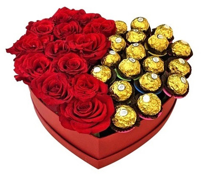 12 Roses & 12 Ferrero Heart Box