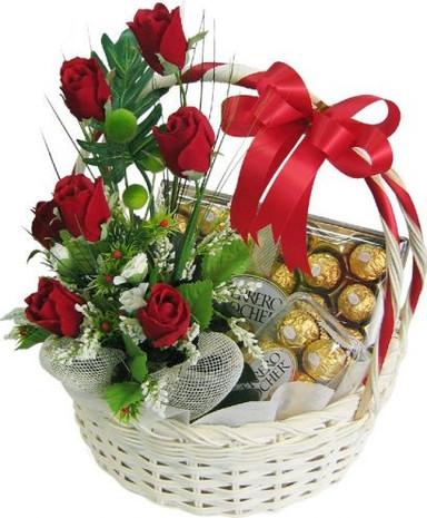 12 Roses & 24 Ferrero in a basket