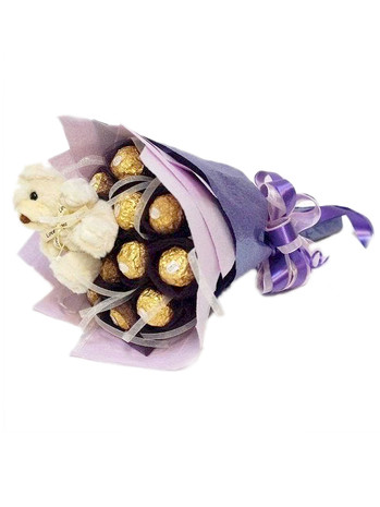 Ferrero 12 & Mini Teddy Bouquet