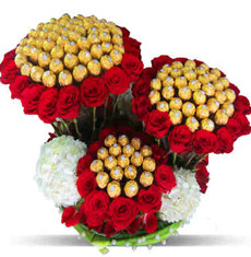 Giant 72 Roses, 40 Carnations & 100 Ferrero Basket Bouquet