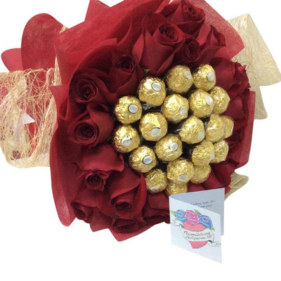 20 XL Roses & 20 Ferrero Bouquet
