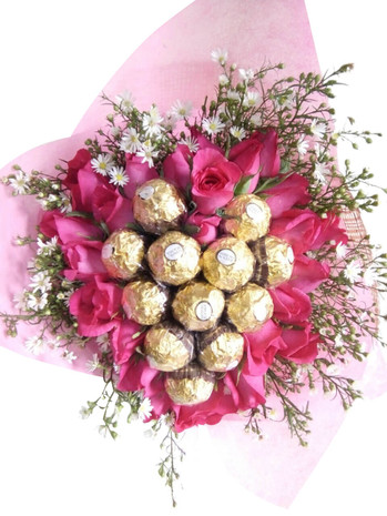 24 Roses & 12 Ferrero Heart Bouquet - Best Seller!