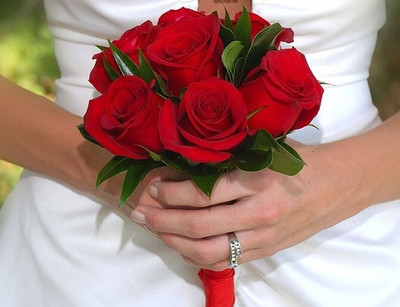 Red Ecuadorian Roses Bridal Bouquet