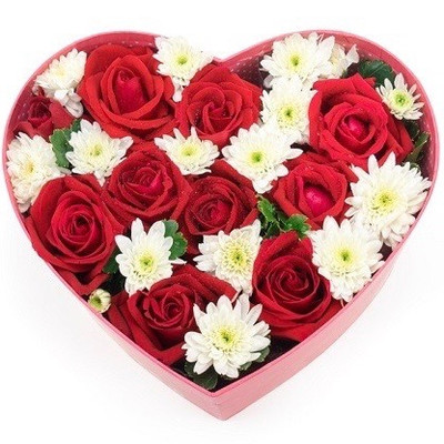 12 Roses & 12 Mums Heart Box