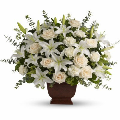 Sympathy White Roses, Carnations & Lilies