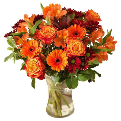 Daisies, Roses & Mums Orange Bouquet
