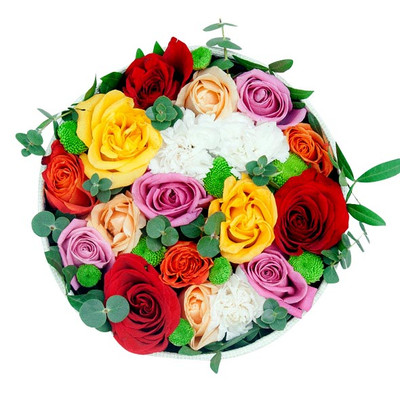 Assorted Roses Round Box