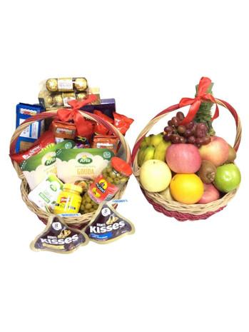 Gourmet Treats & Fruit Overload Basket