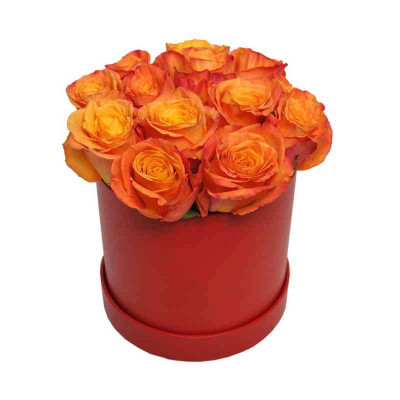 18 Korean Orange Roses Round Box