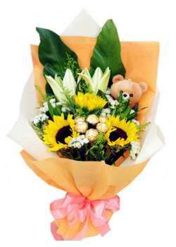 Sunflowers, Stargazer Lilies, Ferrero & Teddy Bouquet