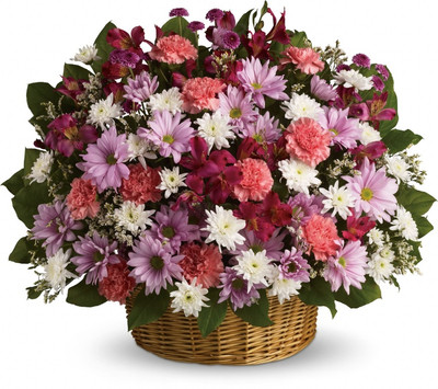 Assorted Mums & Carnations Large Basket