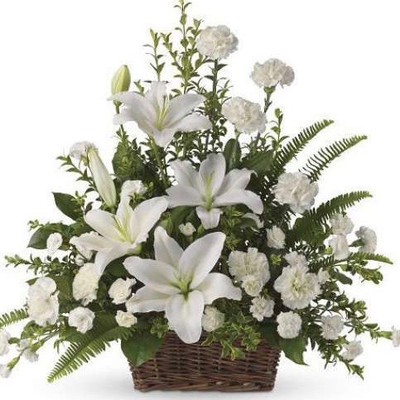 Carnations & Casablanca Lilies Basket