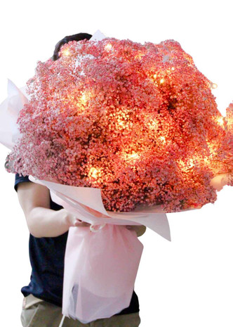 Pink Baby's Breath Fairy Lights Giant Bouquet