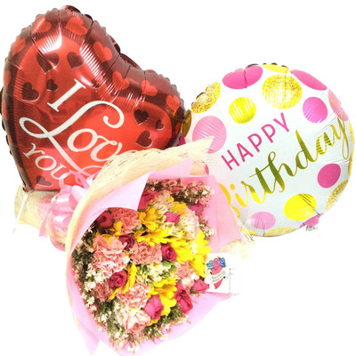Birthday Love Flowers and Balloons Package