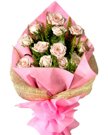 12 Light Pink Roses Bouquet