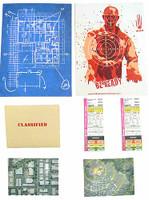 Subject 805: Containment Operator - Paperwork (Zombie Firing Range Target Poster, Blueprints, 2 Satellite Photos & 2 Contamination Cards)