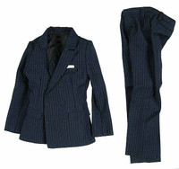 SD Men's Suits - Navy Blue Pinstriped Suit w/ Handkerchief
