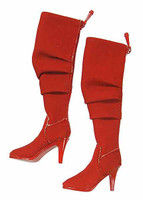 Women's V Neck Dresses - Tall Red Boots (Ball Socket)