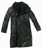 Gangster Kingdom: Spade VII - Large Black Vinyl Over Coat w/ Fur Collar