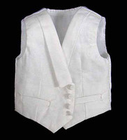 Comedy King of France - White  Vest (AS IS) .Some Staining from Jacket & One Button Needs to be Re-attached)