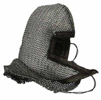 Knight Templar Banner Holder - Chainmail Hood w/ Leather