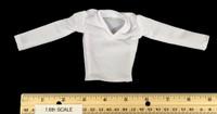 Black Dancewear Set - White Long Sleeve V Neck Shirt