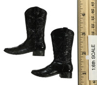 Cowboy Set - Black Weathered Cowboy Boots  w/ Ball Sockets (Tackey Paint)