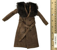 """The Prisoner"" Daisy Domergue - Fur Collared Leather Long Coat w/ Belt"