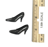 Restaurant Waitress Mini Cheongsam Sets - High Heels (Black)