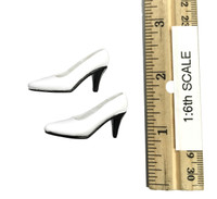 Restaurant Waitress Mini Cheongsam Sets - High Heels (White)