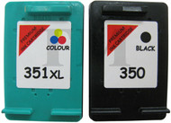 HP 350 & HP 351 XL Remanufactured Ink Cartridges Multipack- High Capacity Black & Tri-Colour Ink Cartridges - Compatible For  (SD412EE, HP 350, HP 351, CB335EE, CB337EE)