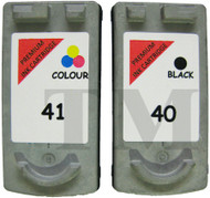 Canon PG-40 / CL-41 Remanufactured Ink Cartridges Multipack- High Capacity Black & Tri-Colour Ink Cartridges - Compatible For (0615B036AA, 0615B036, PG-40, CL-41, 0615B043)