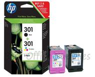 HP 301 Original Black & Tri-Colour 2 Pack Ink Cartridges Multipack - (N9J72AE, HP 301, HP301, CH561EE, CH562EE, J3M81AE)