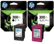 HP Original 300XL Black & Colour Set Ink Cartridges (CC641EE/CC644EE)
