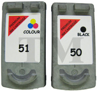 Canon PG-50 / CL-51 Remanufactured Ink Cartridges Multipack- High Capacity Black & Tri-Colour Ink Cartridges - Compatible For (PG-50, PG50, 0616B001, CL-51, CL51, 0618B0011)