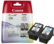 Canon PG-510 / CL-511 Original Black & Tri-Colour Ink Cartridges (2970B010, PG-510, CL-511)