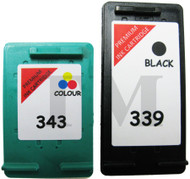 HP 339 & HP 343 Remanufactured Ink Cartridges Multipack- High Capacity Black & Tri-Colour Ink Cartridges - Compatible For  (C8767EE, HP 339, HP339,C8766EE, No 343, HP343, C8766AE)