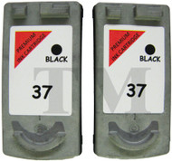 Canon PG-37 Remanufactured Ink Cartridges Twin Pack - High Capacity Black Twin Pack Ink Cartridges - Compatible For  (PG-37, 2145B001)