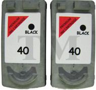 Canon PG-40 Remanufactured Ink Cartridges Twin Pack - High Capacity Black Twin Pack Ink Cartridges - Compatible For  (PG-40, PG40, 0615B001)